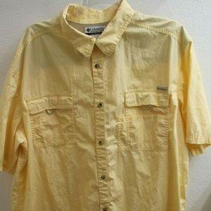 Columbia PFG Mens Size 3XT Lite Yellow Shirt